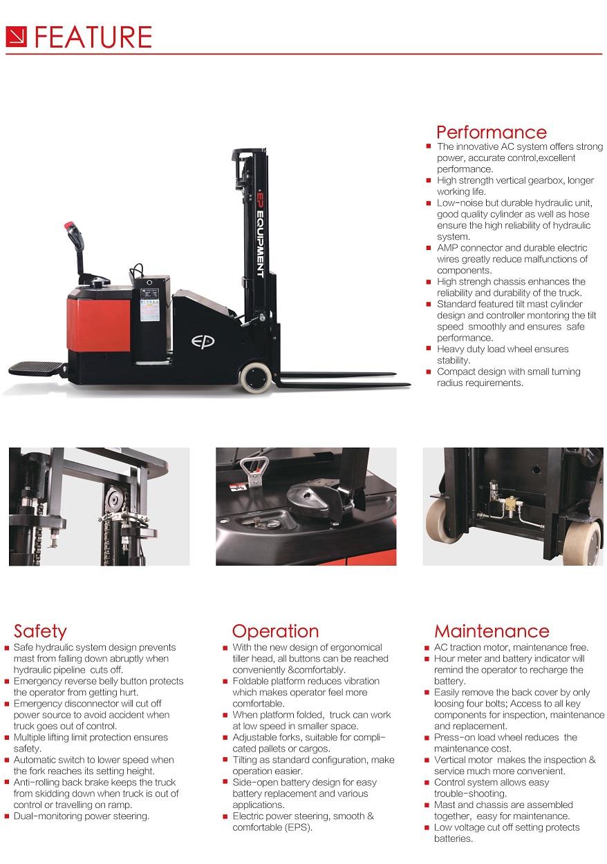 Xe nâng điện đứng lái Stacker EP 1,2 tấn-1,5 tấn. Model ES12-12CS/ES15-15CS