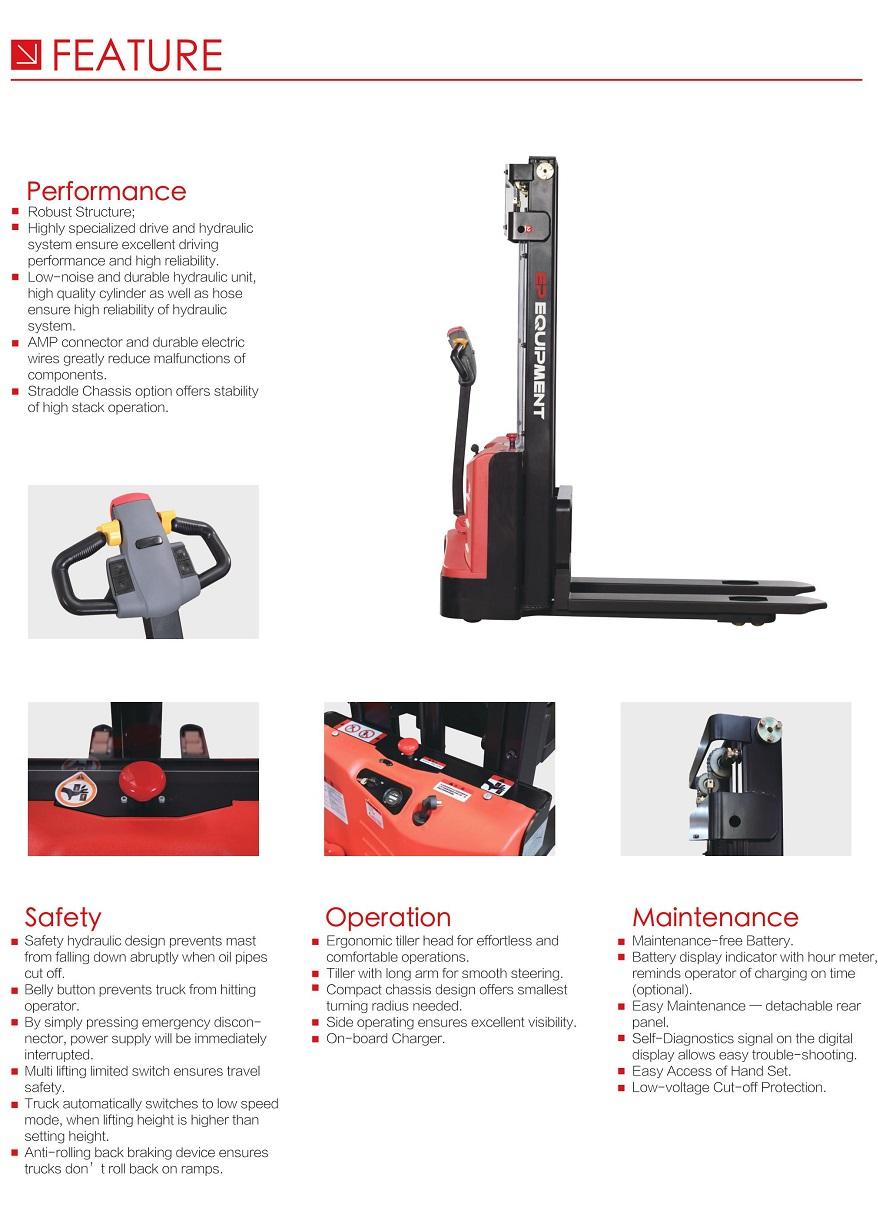 Xe nâng tay cao loại chân rộng, nâng pallet 2 mặt. Tải trọng nâng 1-1,2 tấn. Model ES10-2DM/ES12-25DM