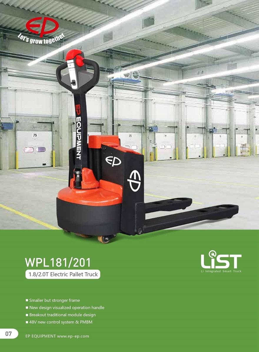 Xe nâng điện tay thấp EP 2 tấn, pin Lithium, Model WPL201