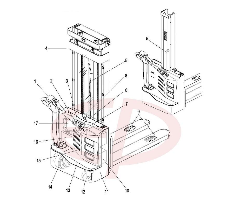 Cấu tạo chung của xe nâng điện tay cao Stacker EP ES12-12ES