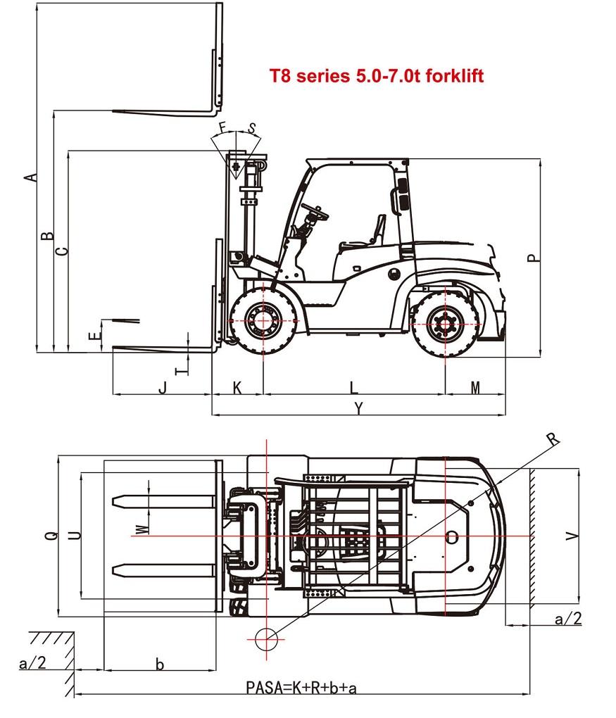 Mô tả kích thước xe nâng 7 tấn EP CPCD70T8
