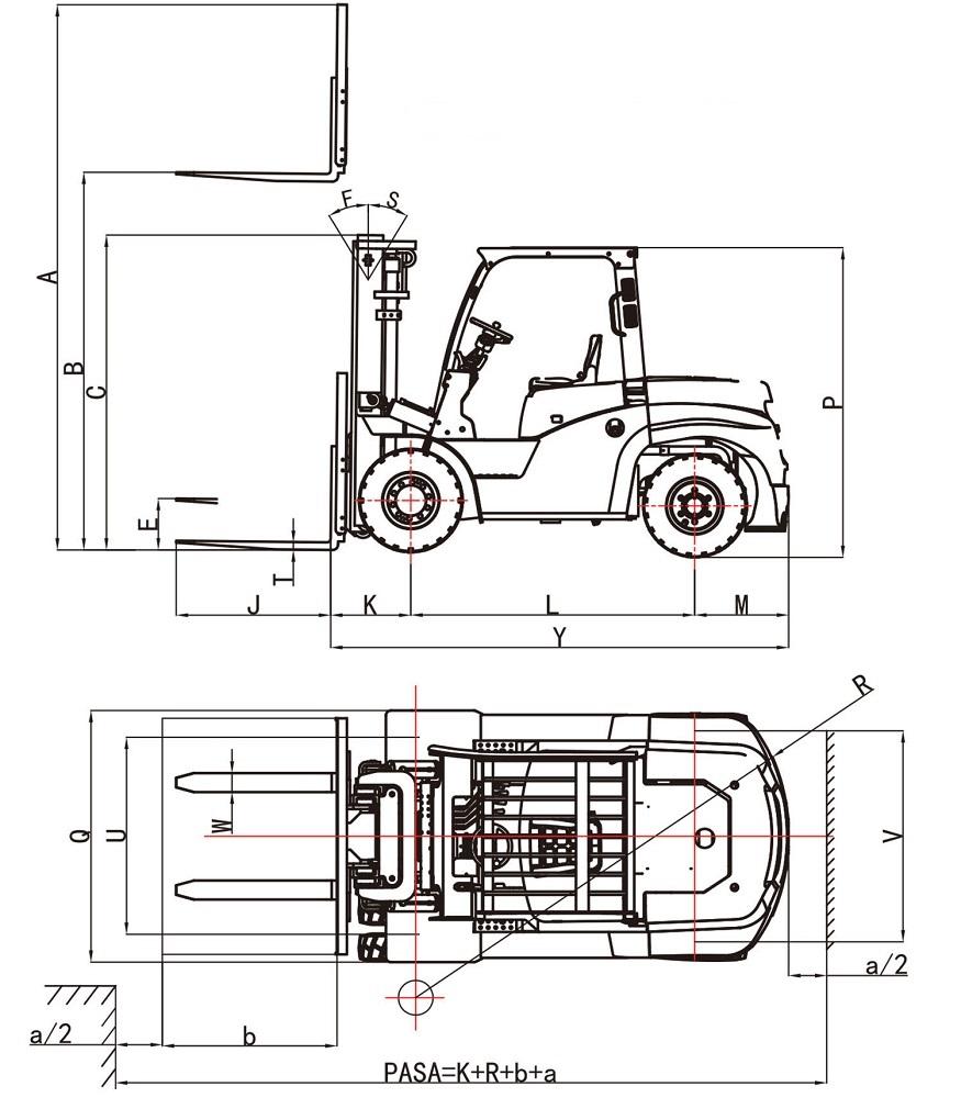 Mô tả kích thước xe nâng 4 tấn EP CPCD40T8